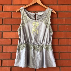 HD in PARIS ANTHROPOLOGIE Gray Embroidered Top